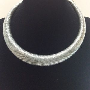 Flexible Silver metal Coiled Necklace